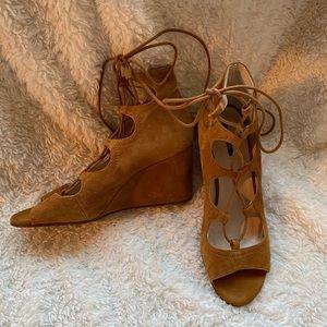 Zara Faux Suede Lace Up Wedge Heels